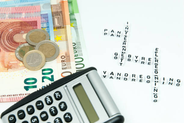 euro and calculator and words written in danish representing household monthly expenses concept photo stock photo