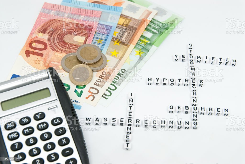 euro and calculator and words written in german representing household monthly expenses concept photo stock photo