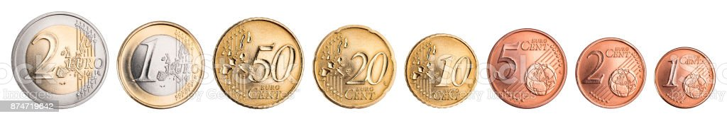 euro and cent coin currency set stock photo