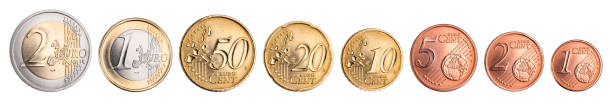 euro and cent coin currency set euro and cent coin currency set collection isolated on white background european union euro symbol stock pictures, royalty-free photos & images