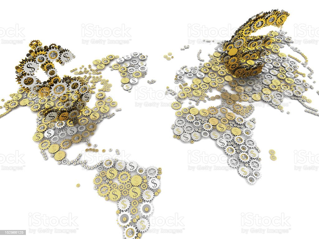 euro and dollar on world map mechanism royalty-free stock photo