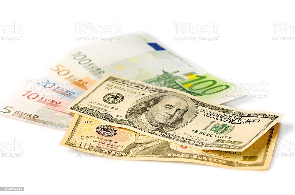 Euro and Dollar royalty-free stock photo