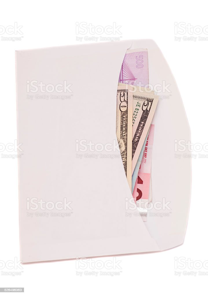 euro and dollars in open envelope isolated on white stock photo