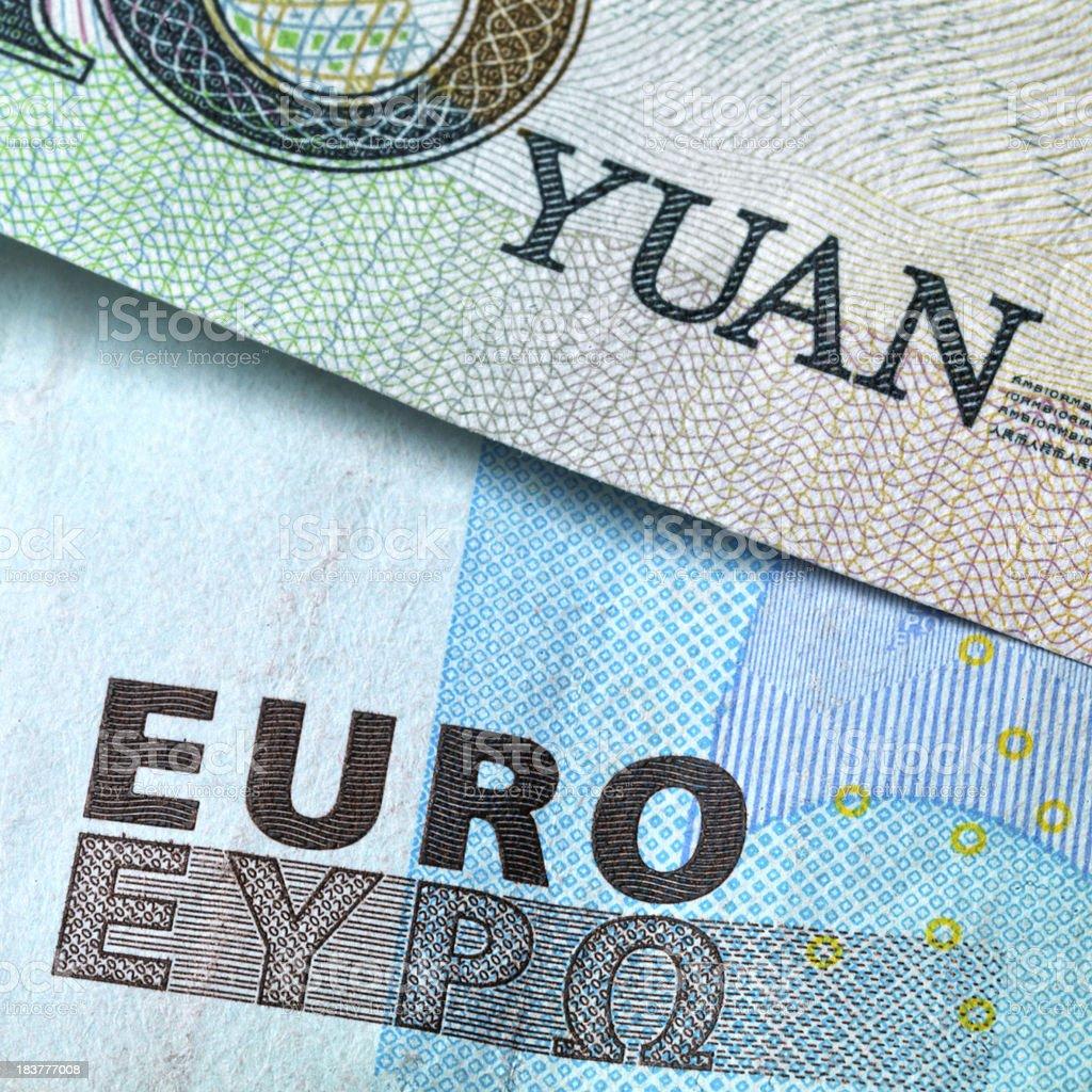 Euro and Yuan royalty-free stock photo
