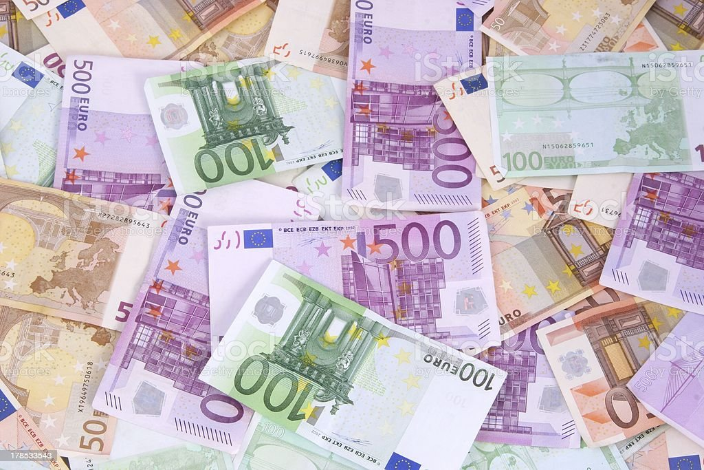 Euro Background 50 100 and 500 bills royalty-free stock photo