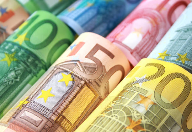 Euro bank note currency finance background stock photo
