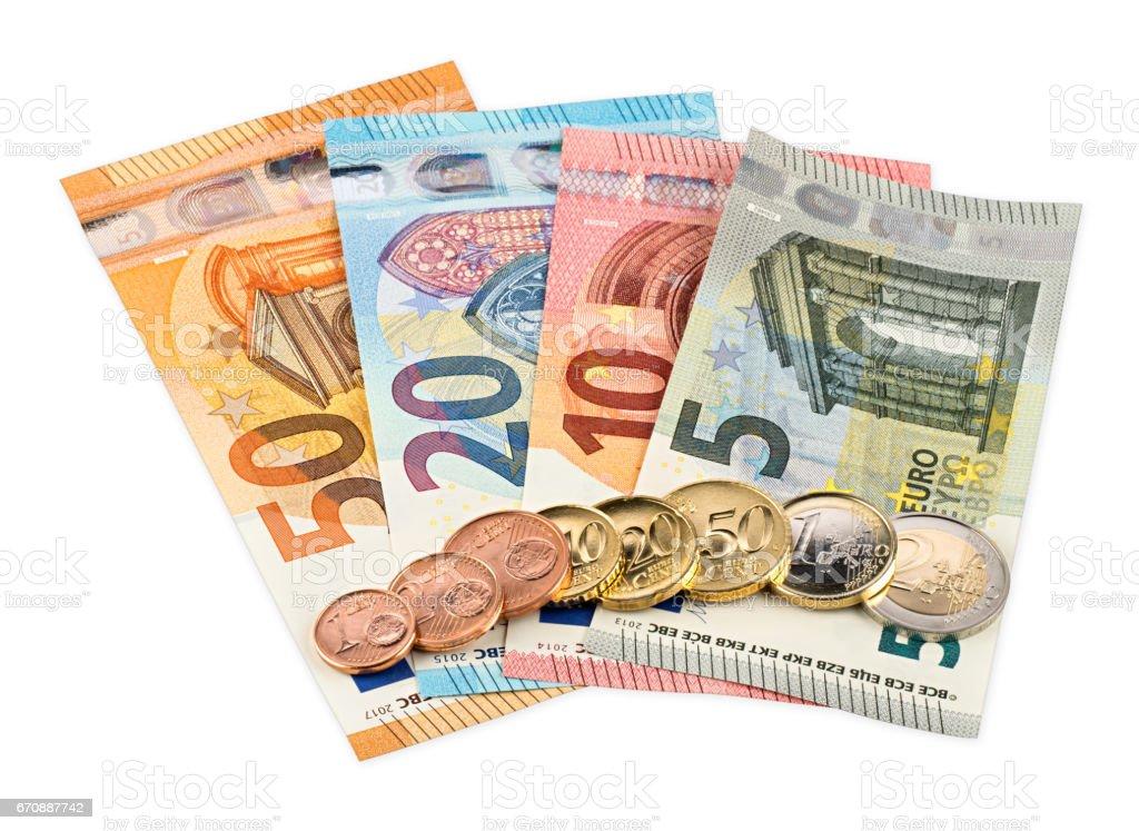 euro bank notes and coins stock photo
