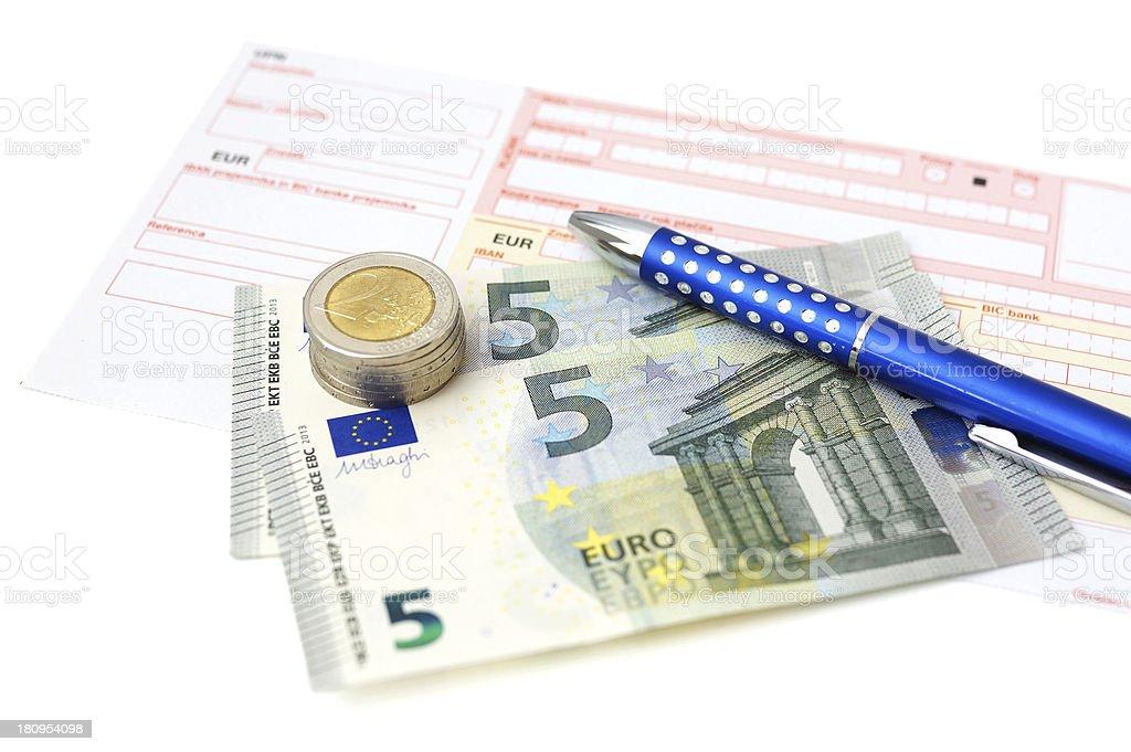 Euro bank transfer with  money, slip, pen stock photo