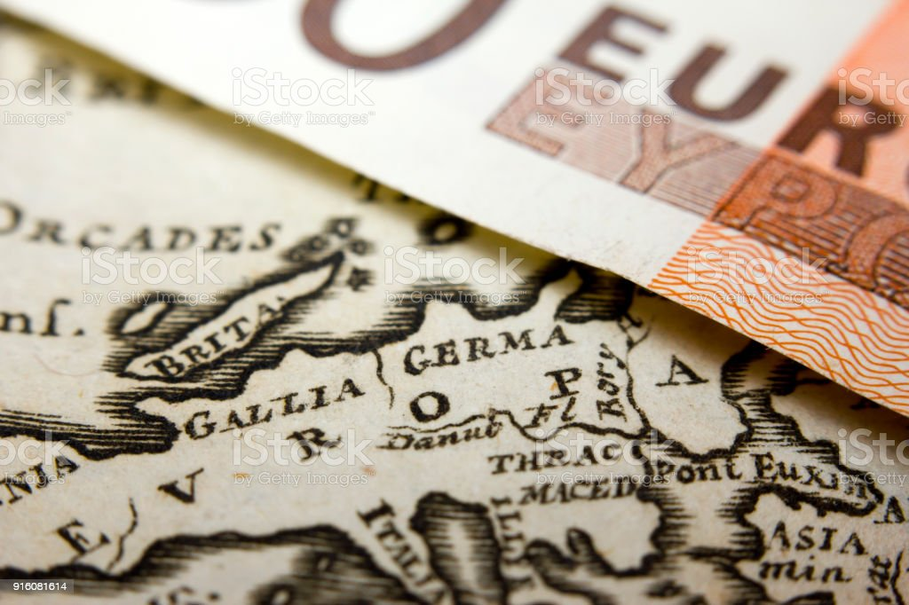 Euro banknote and map stock photo