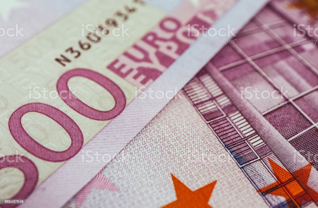 500 euro banknote close up. Five hundred euro money macro view. zbiór zdjęć royalty-free