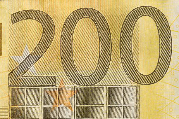 Billete de banco de 200 Euro primer plano - foto de stock