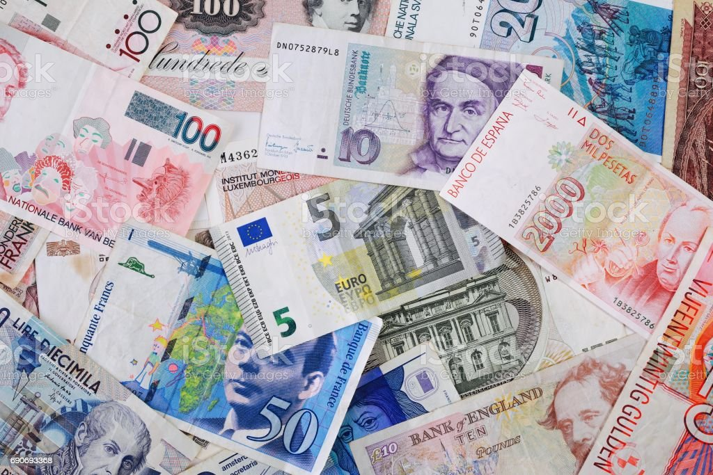 Euro banknote on old European Currencies stock photo