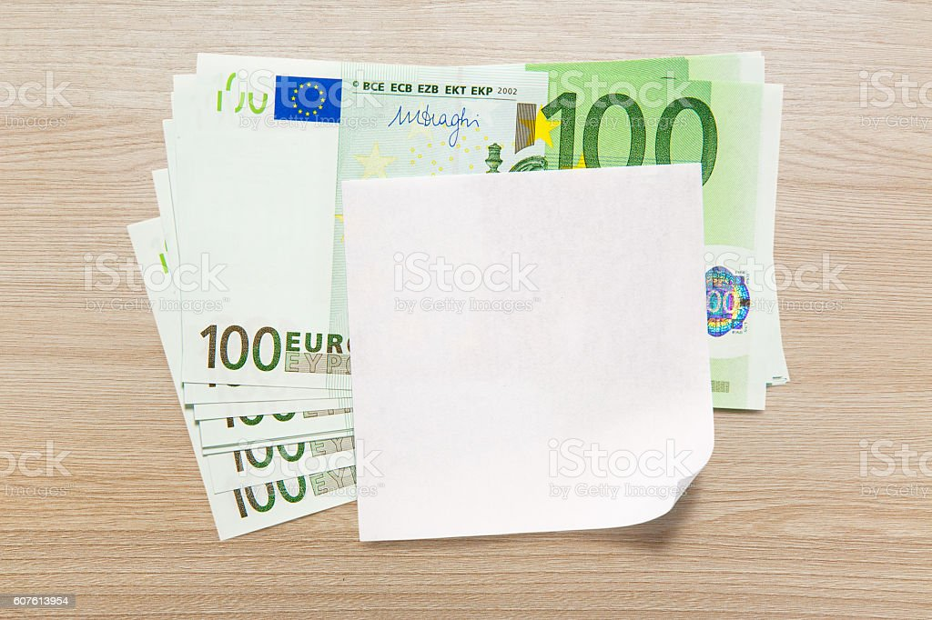 Euro banknotes and blank paper stock photo