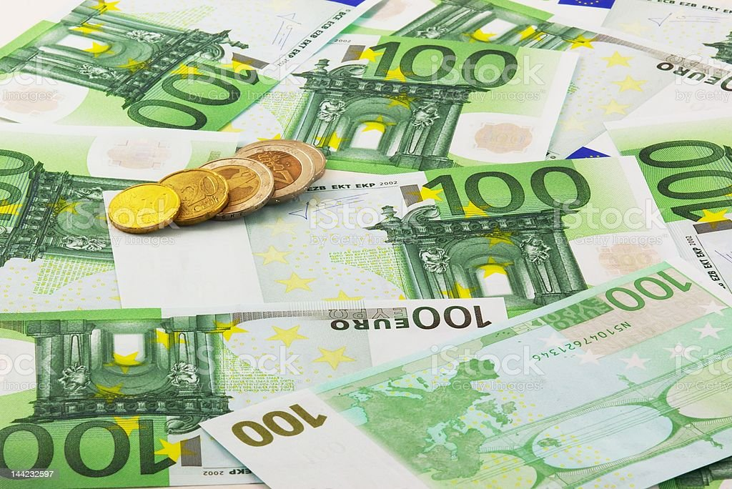 Euro banknotes and coins royalty-free stock photo