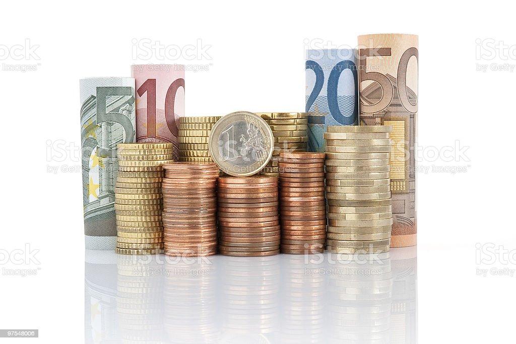Pièces et des billets en euros photo libre de droits
