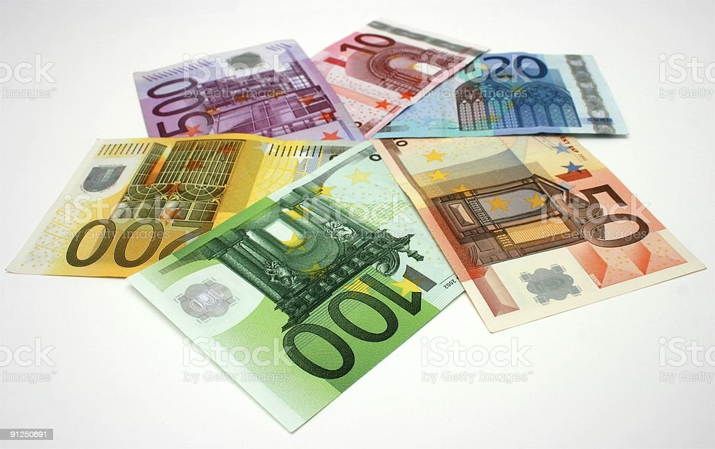 Euro banknotes arranged in a star shape royalty-free stock photo