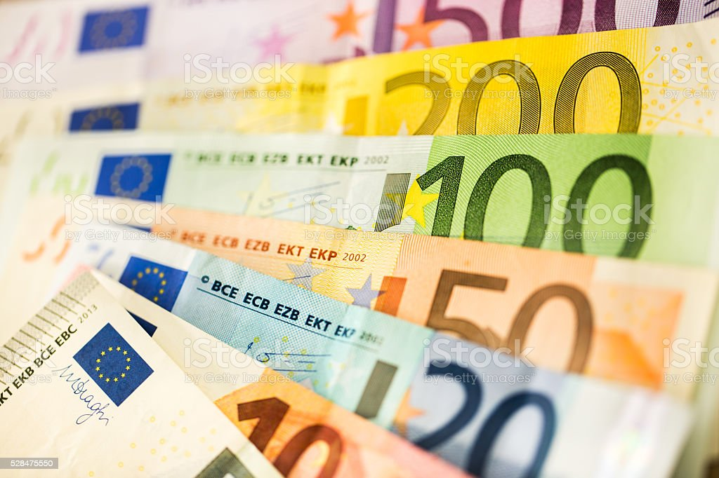Euro banknotes background stock photo