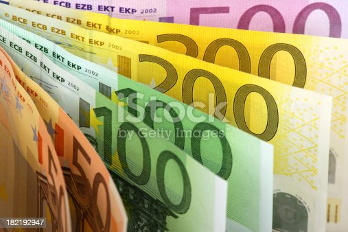 Euro banknotes fan background.