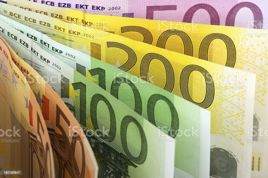 Euro banknotes fan stock photo