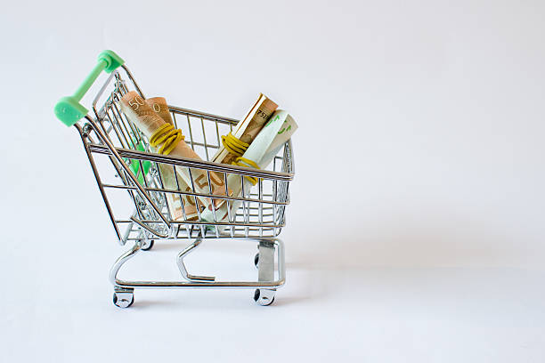 Euro banknotes filling a shopping cart on white background - Photo