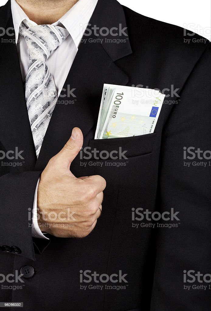 Euro banknotes in a pocket royalty-free stock photo