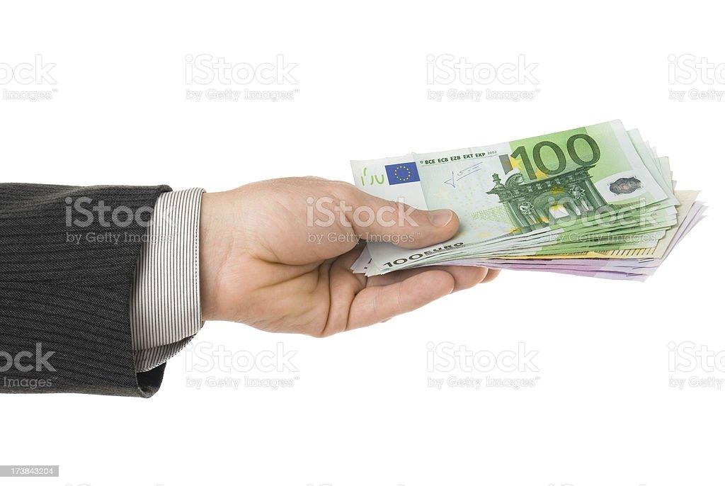 Billetes de Euro en mano Aislado en blanco - foto de stock