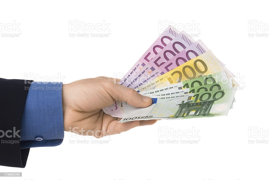 Euro banknotes in hand isolated on white royalty-free stock photo