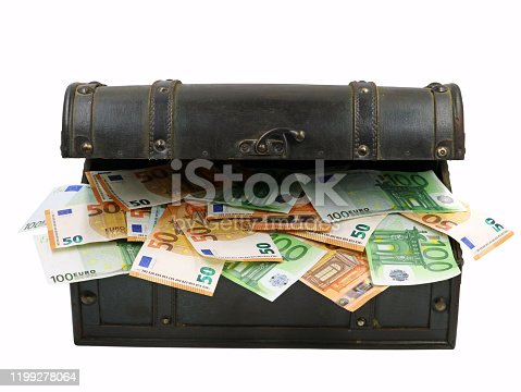istock euro banknotes in old open wooden chest isolated on white background 1199278064