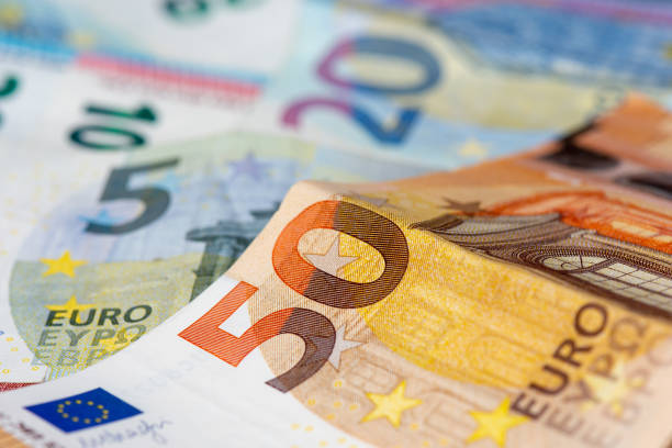 Euro banknotes 5, 10, 20 and 50 euro banknotes. Close-up view euro symbol stock pictures, royalty-free photos & images