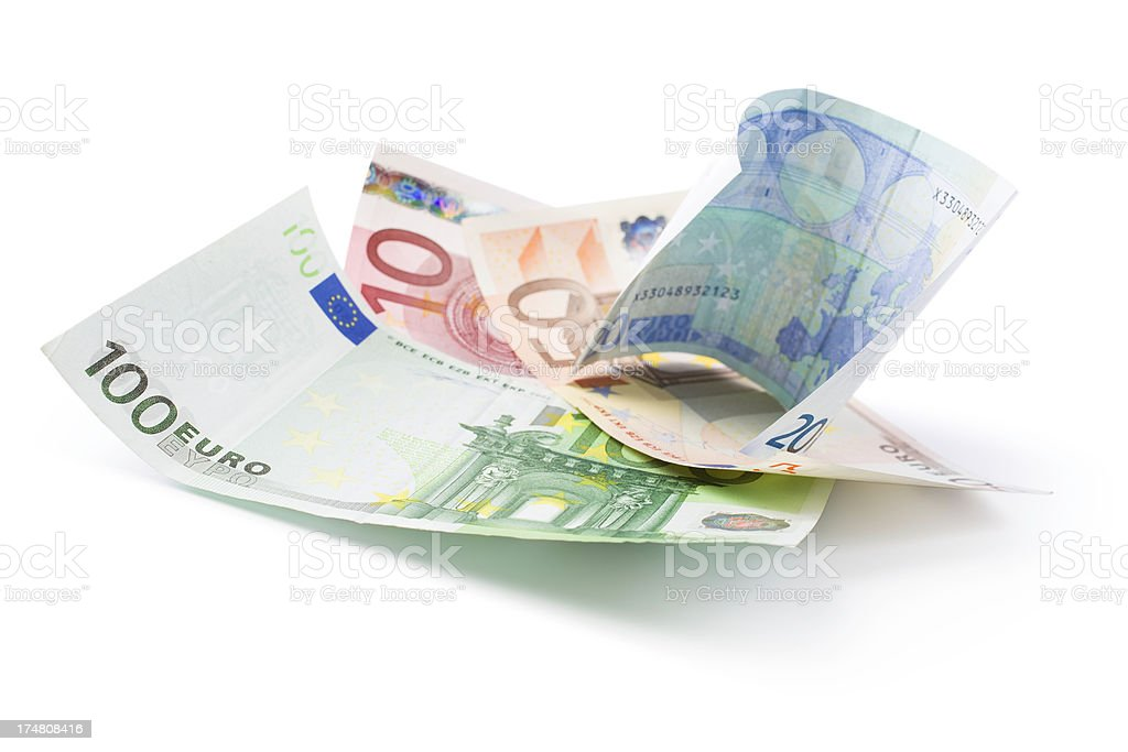 euro banknotes (clipping path) royalty-free stock photo