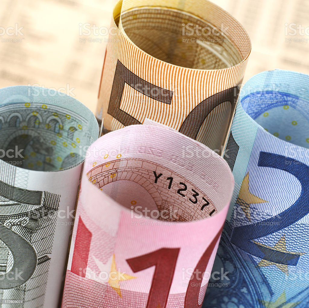 Euro banknotes rolled up macro royalty-free stock photo
