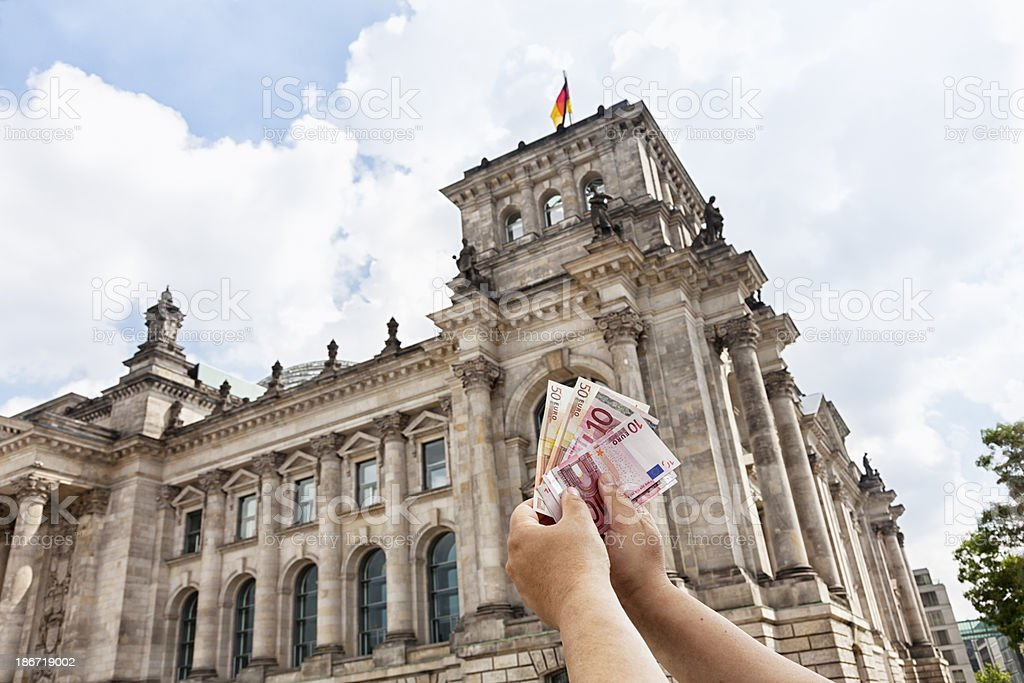 Euro banknotes the Reichstag Germany royalty-free stock photo