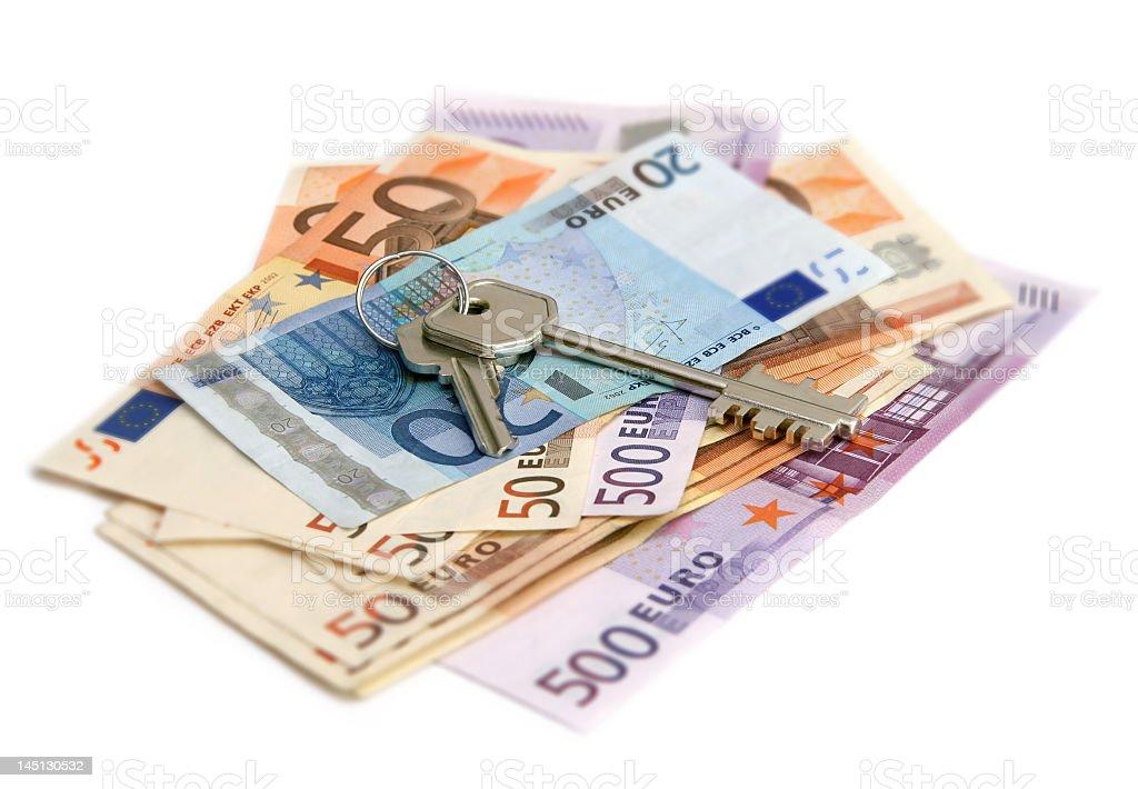 euro banknotes with keys royalty-free stock photo