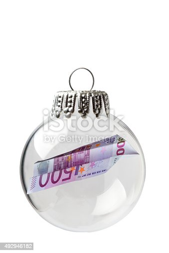 Euro Bill In a Christmas Ornament