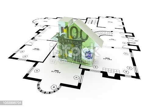 istock Euro Bill Puzzle House over Floor Plan Drawing - 3D Rendering 1053898704