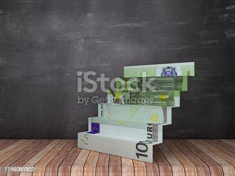 Euro Bill Stair on Wood Floor - Chalkboard Background - 3D Rendering