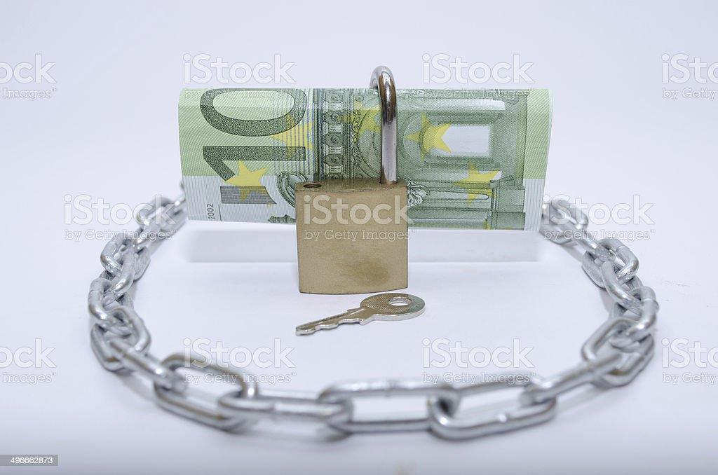 euro bill with padlock and chain stock photo