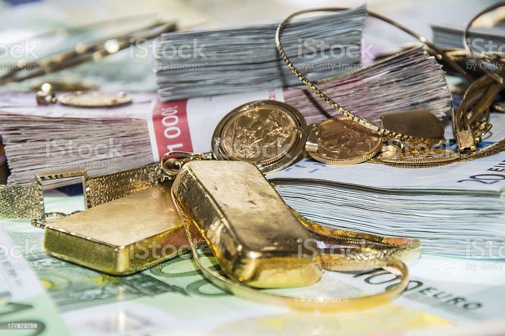 Euro Bills and Gold royalty-free stock photo