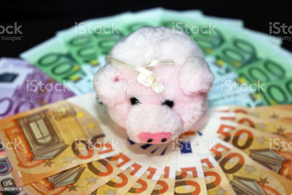 Euro Bills With A Pig As A Good Luck Symbol In Germany Stock Photo
