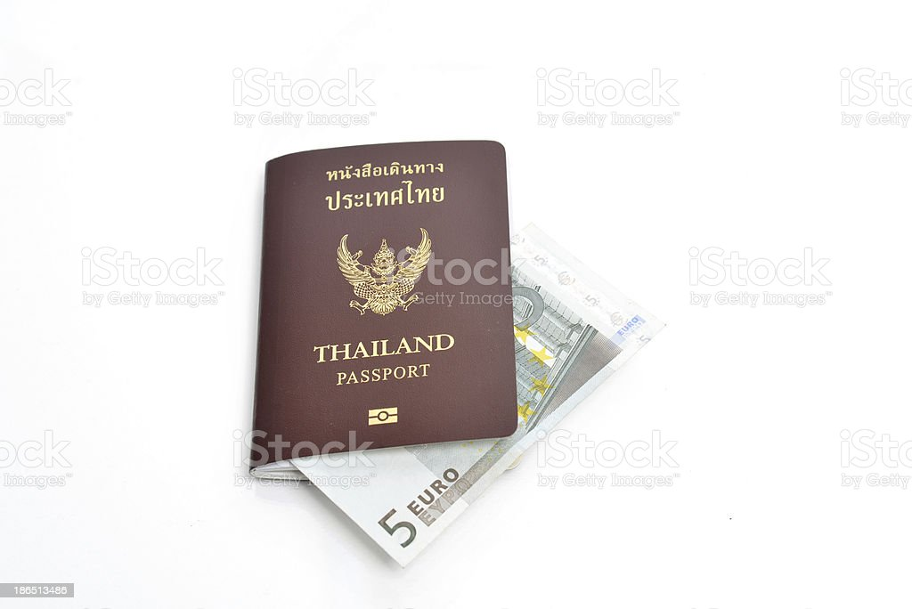 Euro bills with Thailand passport royalty-free stock photo