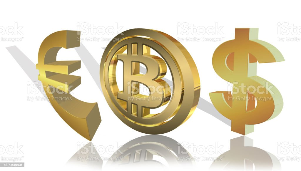 Euro, bitcoin, dollar-golden logos rendered in 3d on a white background stock photo