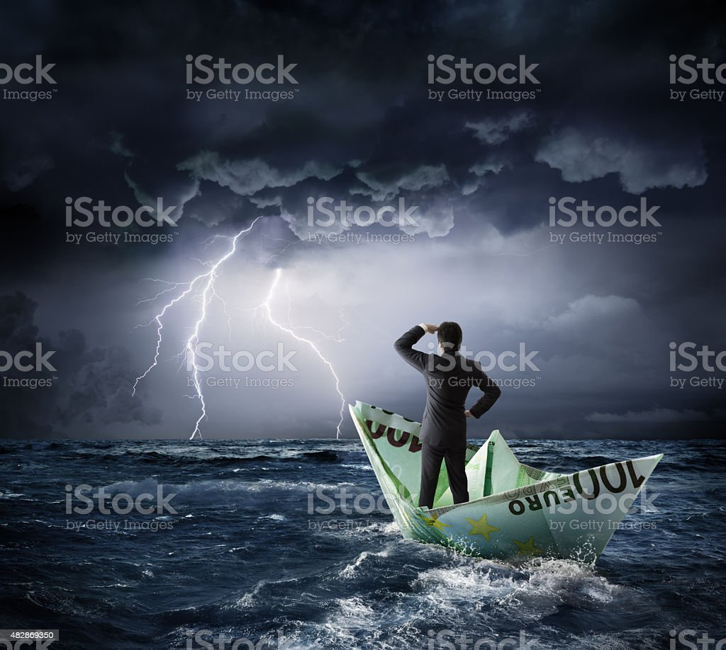 Euro boat in the crisis - investment risk concept stock photo