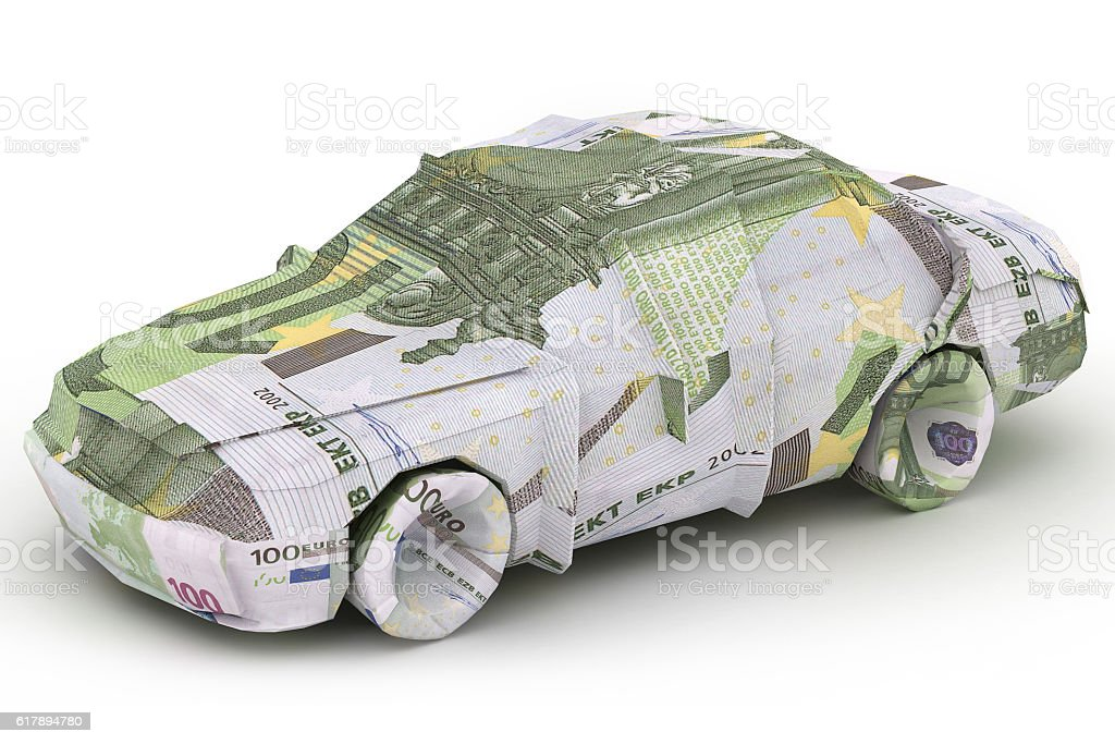 Euro Car. Money origami. Made from Euro stock photo