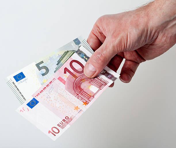 15 Euro cash back concept stock photo