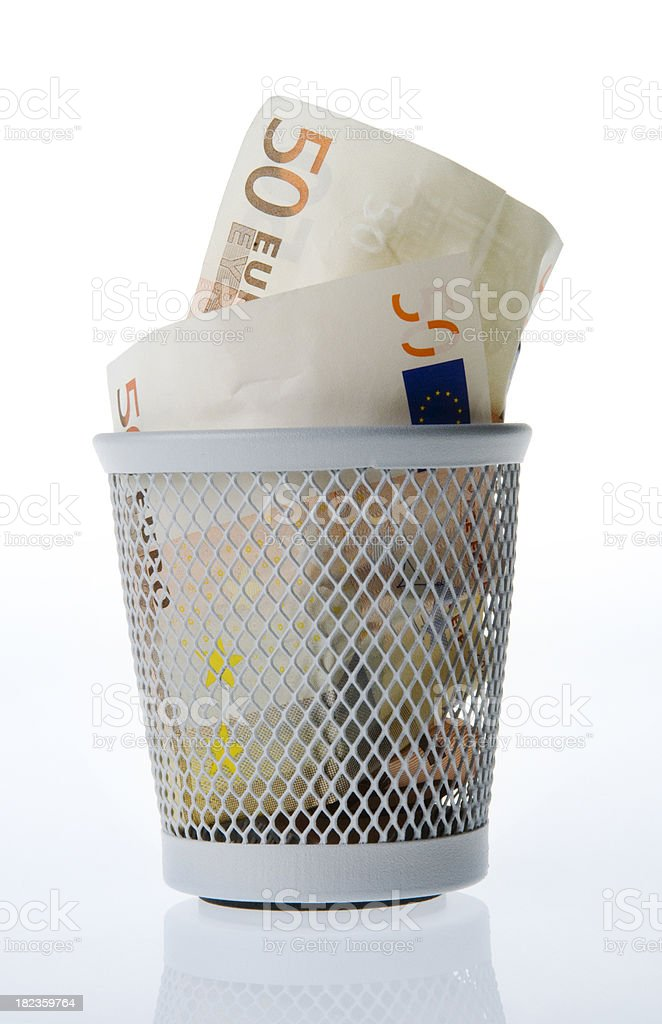 Euro cash in trash bin royalty-free stock photo