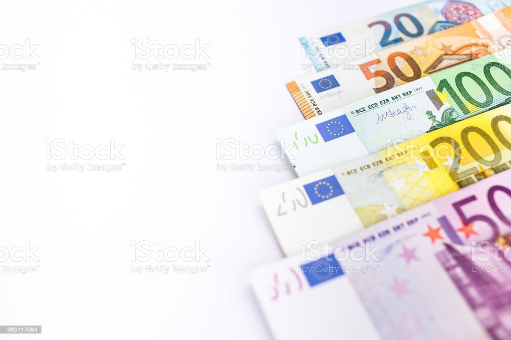 Euro cash. Many Euro banknotes of different values. zbiór zdjęć royalty-free