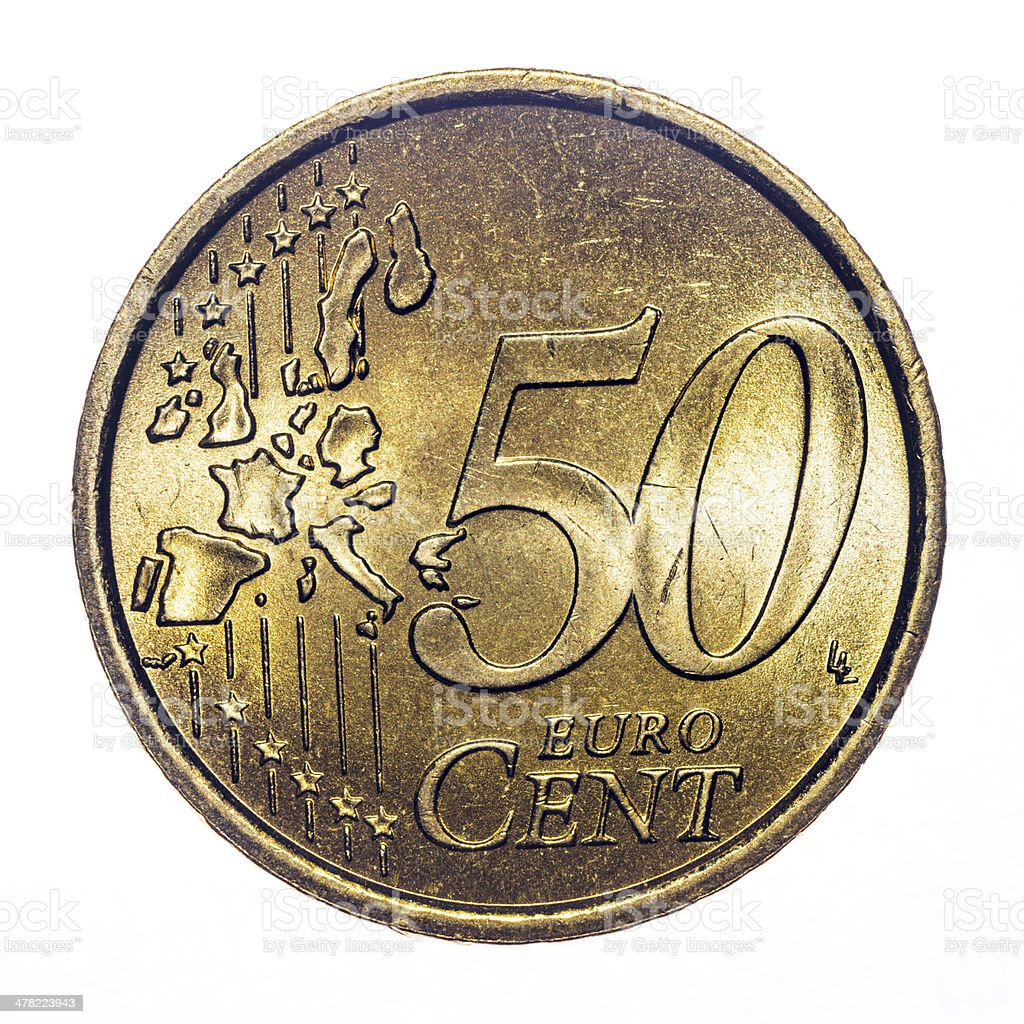 50 euro cent coin isolated on white (2002) stock photo