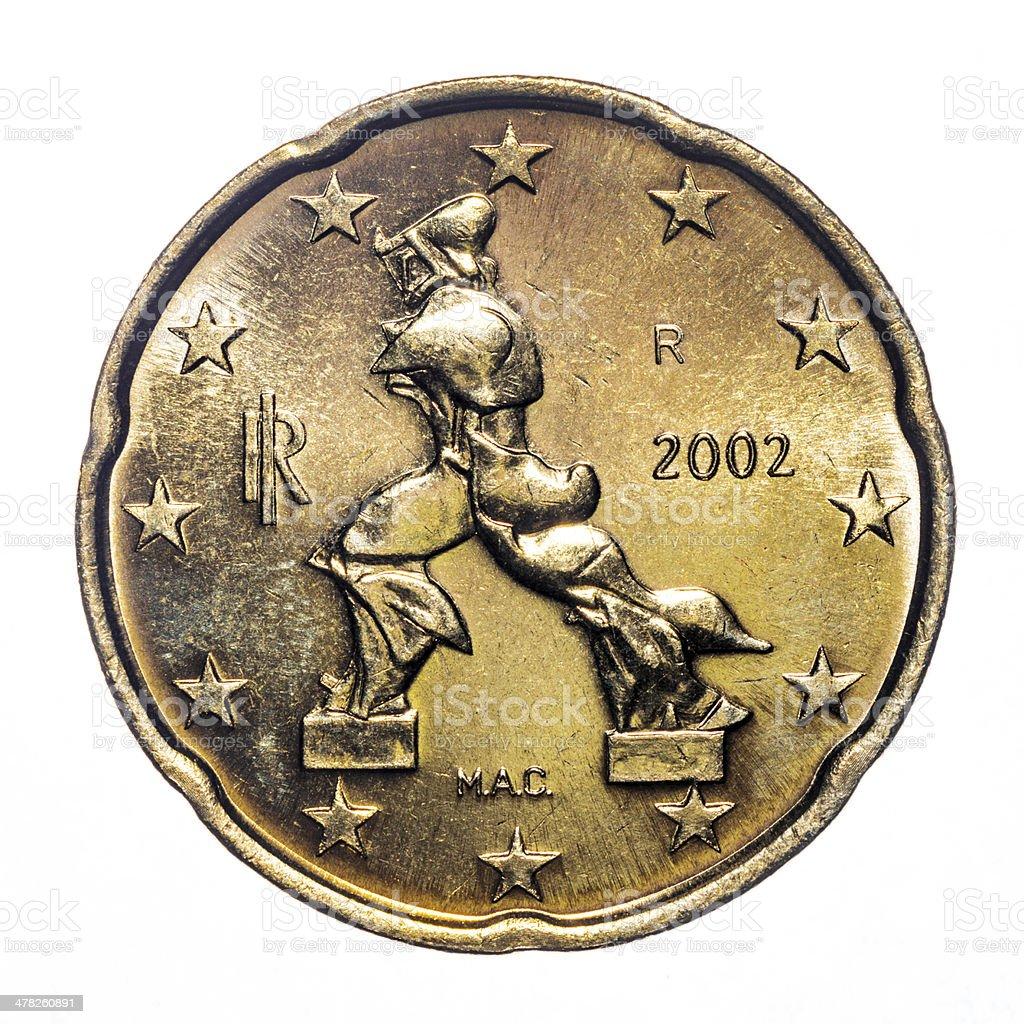 20 Euro Centmünze Isoliert Auf Weiß Stock Fotografie Und Mehr Bilder