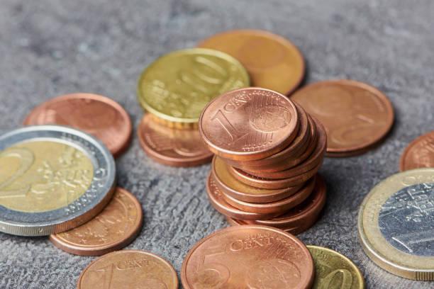 Euro Cent Münzstapel stock photo