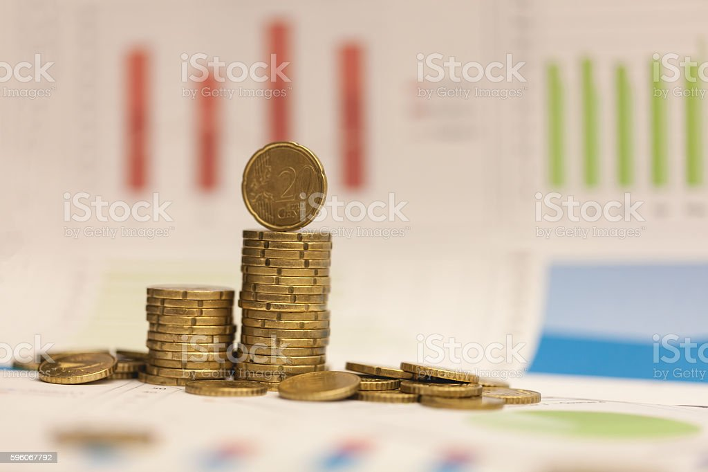 Euro cents and graph. royalty-free stock photo